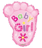 "14"" Airfill Only Baby Girl Foot Shape Gellibean Balloon"