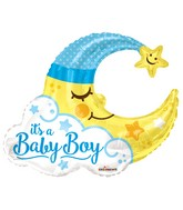 "36"" Baby Boy Moon Shape Gellibean Balloon"