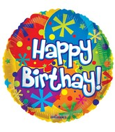 "18"" Happy Birthday Balloons & Dots Balloon"
