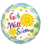 "18"" Get Well Sunflower Smilies Balloon"