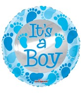"4"" Airfill Only Baby Blue Foot Prints Balloon"