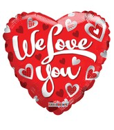 "18"" We Love You Silver Hearts Balloon"