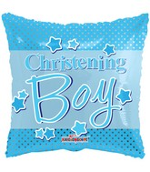 "18"" Christening Boy Dots Balloon"