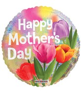 "18"" Happy Mother's Day Real Tulips Holographic Balloon"