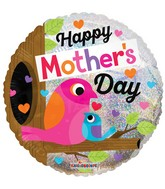 "18"" Happy Mother&#39s Day Birds Holographic Balloon"