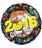 "18"" Class Of 2016 Smiley Balloon"