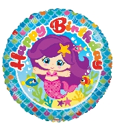 "18"" Round Birthday Mermaid Balloon"