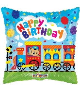 "18"" Square Birthday Choo Choo Train Gellibean Balloon"