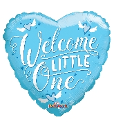 "9"" Airfill Only Heart Welcome Little One Blue Balloon"