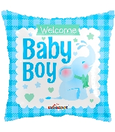 "18"" Square Baby Boy Little Elephant Gellibean Balloon"
