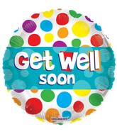 "18"" Get Well Soon Dots Balloon"