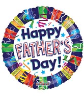 "18"" Happy Father&#39s Day Lines Balloon"