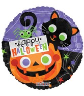 "18"" Halloween Cat & Pumpkin Balloon"