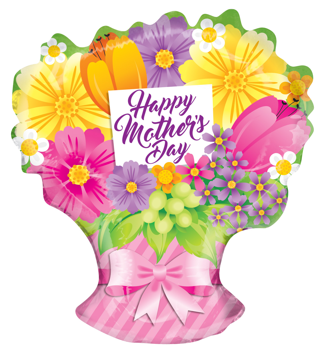 "18"" Happy Mother&#39s Day Sing Flowers Bouquet Shape Balloon"