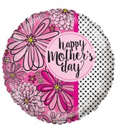 "18"" Happy Mother's Day Flowers & Dots Balloon"