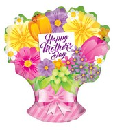 "18"" Happy Mother's Day Sing Flowers Bouquet Shape Balloon"