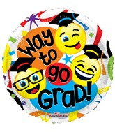 "18"" Way To Go Grad Smilies Balloon"