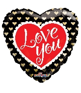 "18"" Golden Hearts I Love You Balloon"
