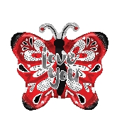 "18"" Love You Butterfly Shape Balloon"