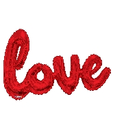 "36"" Red Love Script Shape Balloon (Airfill Only)"