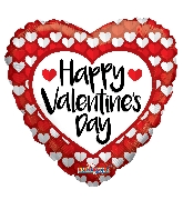 "36"" Happy Valentine&#39s Day Red & White Hearts Balloon"