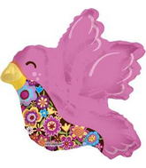 "14"" Airfill Hot Pink Bird Balloon"
