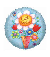"18"" Get Well Flowers And Vase Balloon"
