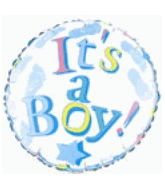 "18"" It&#39S A Boy Mylar Balloon White"