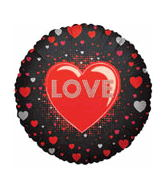 "18"" Black Heart Border Love Balloon"