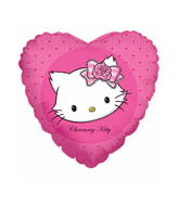 "18"" White Cat Balloon Heart"