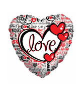 "9"" Airfill Love Type Clear Plastic Red & Black"