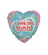 "18"" I Love You Mom Hearts Mylar Balloon"