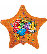 "18""  congrats Grad Stars And Dots Mylar Balloon"