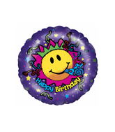 "18"" Happy Birthday Smiley Face Unisex Balloon"
