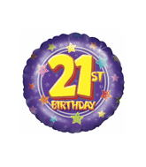 "18"" 21st Birthday Stars Balloon"