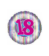 "18"" Pink and Pastel Stripes Number 18"