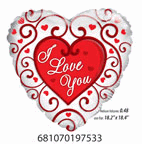 "18"" Balloon I Love You Ornaments"
