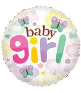 "24"" Baby Girl Butterflies Clear View Balloon"