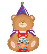 "36"" Birthday Bear With Cupcake Shape Balloon"