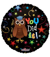 "18"" OMG Wow Yikes! You Did It! Owl Balloon"