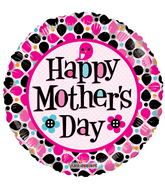 "18"" Happy Mother&#39s Day Dots Clear View"