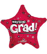 "18"" Way To Go Grad Stars Red"