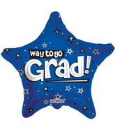 "18"" Way To Go Grad Stars Blue"
