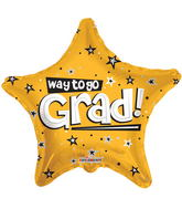 "18"" Way To Go Grad Stars Gold"