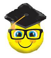 "18"" Smiley With Grad Cap Shape Balloon"