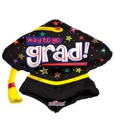 "28"" Way To Go Grad Cap Shape"