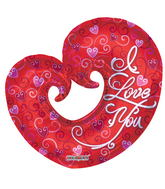 "36"" I Love You Balloon Curled Heart Shape"
