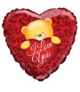"18"" Love Bear Over Roses Foil Balloon"