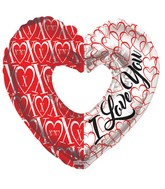"9"" I Love You & Xoxo Heart Shape Foil Balloon"