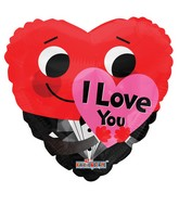 "18"" I Love You Red Smiliey Foil Balloon"